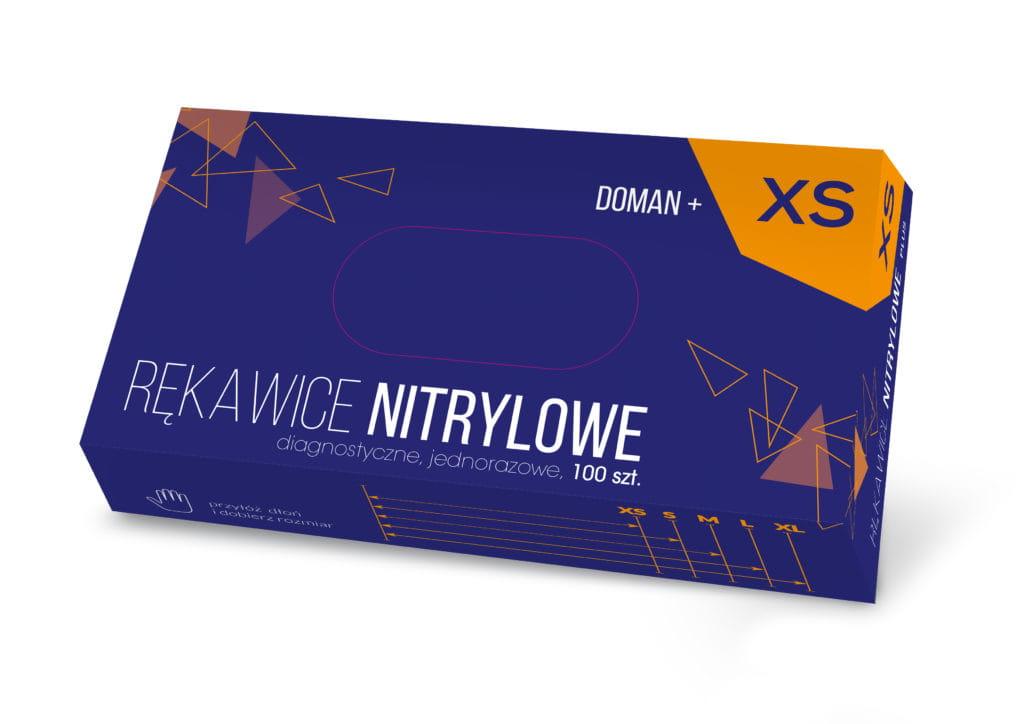 Image of Rękawice nitrylowe niebieskie DOMAN +